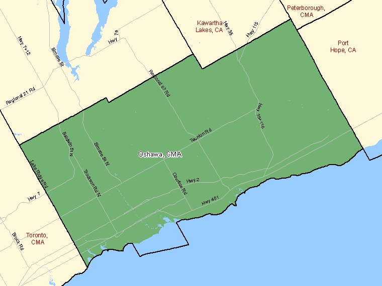 Map : Oshawa (Census Metropolitan Area / Census Agglomeration) shaded in green