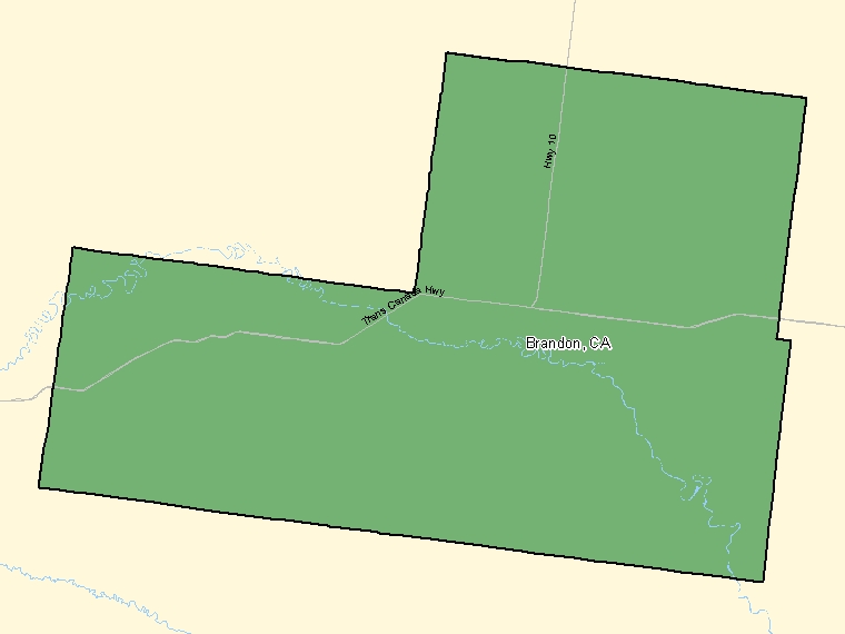 Map : Brandon (Census Metropolitan Area / Census Agglomeration) shaded in green