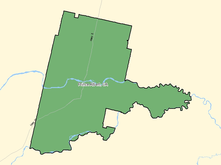 Map : Prince Albert (Census Metropolitan Area / Census Agglomeration) shaded in green