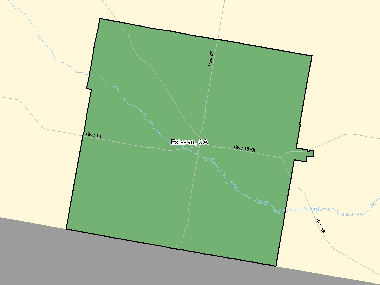 Map : Estevan (Census Metropolitan Area / Census Agglomeration) shaded in green