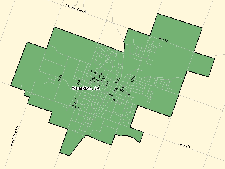 Map : Wetaskiwin (Census Metropolitan Area / Census Agglomeration) shaded in green