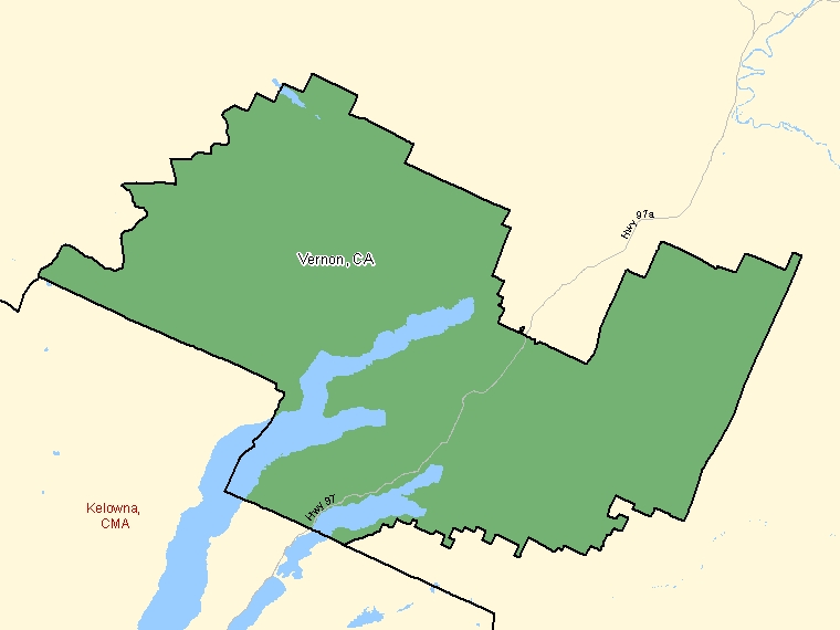 Map : Vernon (Census Metropolitan Area / Census Agglomeration) shaded in green