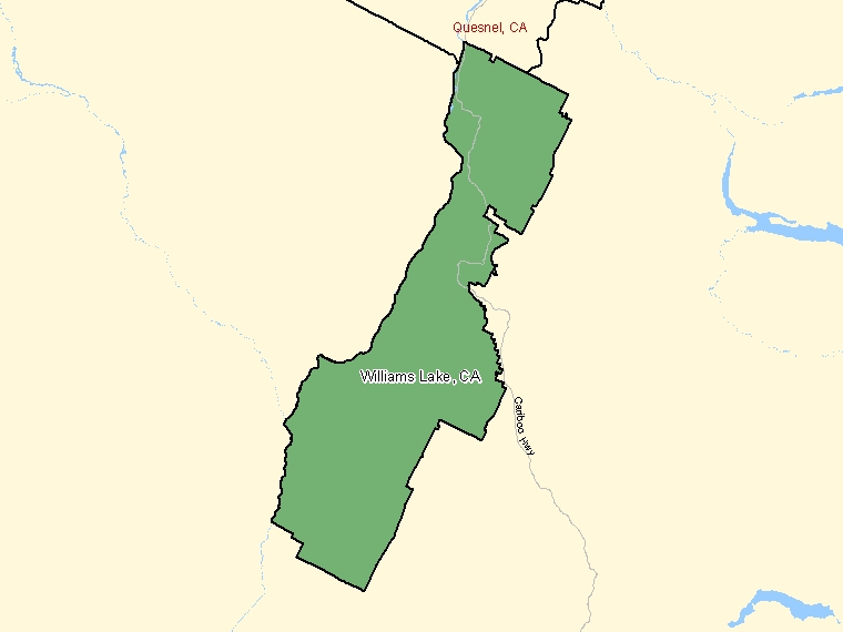 Map : Williams Lake (Census Metropolitan Area / Census Agglomeration) shaded in green