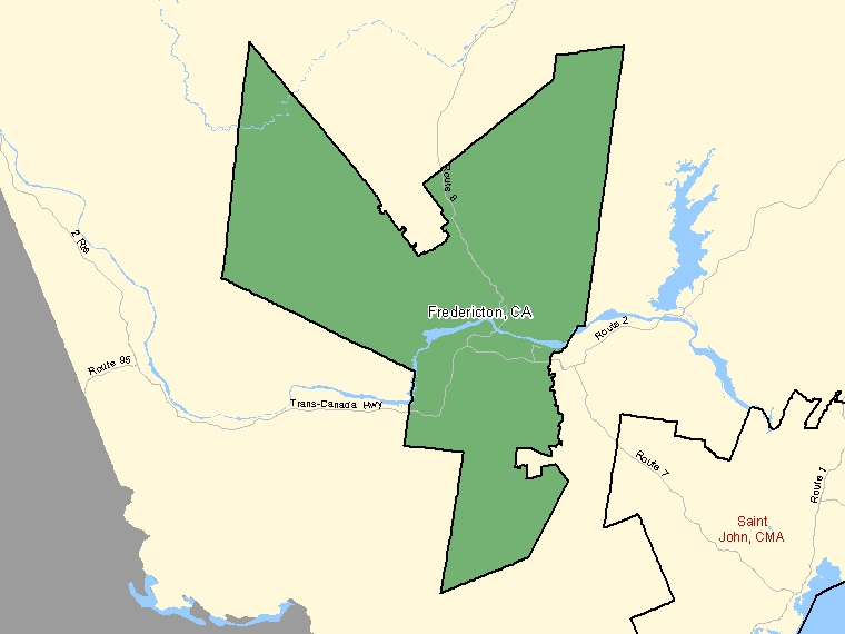 Map: Fredericton, Census agglomeration (shaded in green), New Brunswick