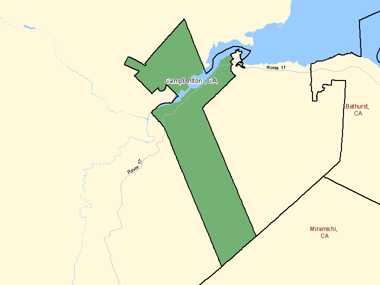 Map: Campbellton, Census agglomeration (shaded in green), New Brunswick
