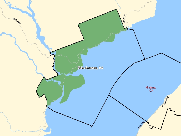 Map: Baie-Comeau, Census agglomeration (shaded in green), Quebec