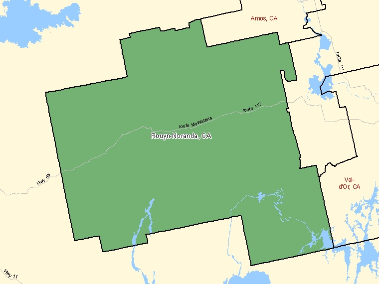 Map: Rouyn-Noranda, Census agglomeration (shaded in green), Quebec