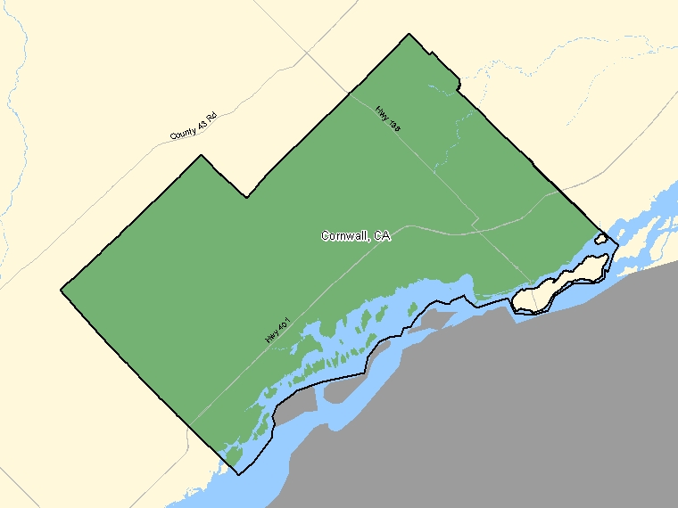 Map: Cornwall, Census agglomeration (shaded in green), Ontario