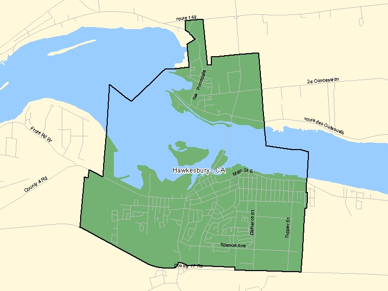 Map: Hawkesbury, Census agglomeration (shaded in green), Ontario