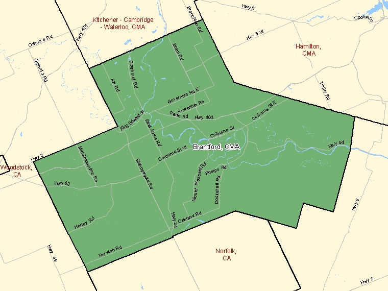 Map: Brantford, Census metropolitan area (shaded in green), Ontario
