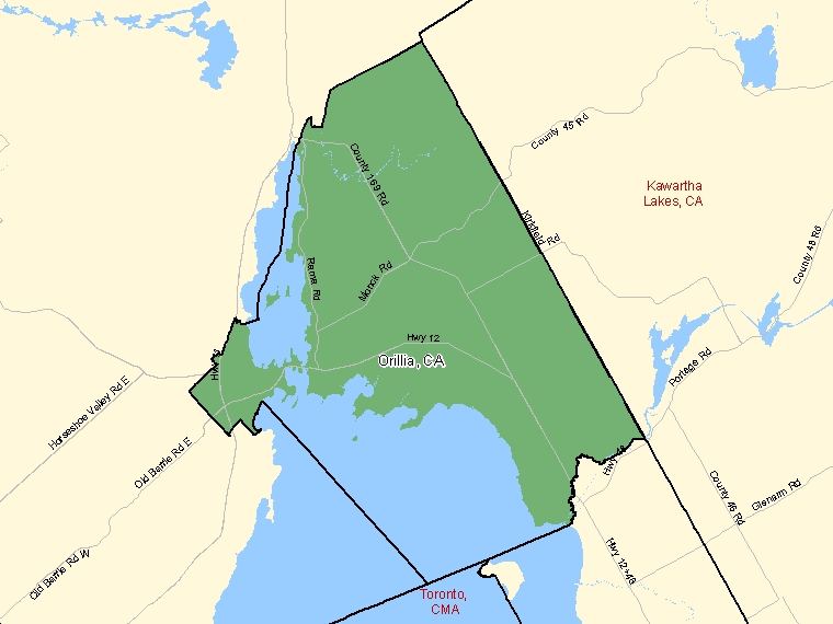 Map: Orillia, Census agglomeration (shaded in green), Ontario