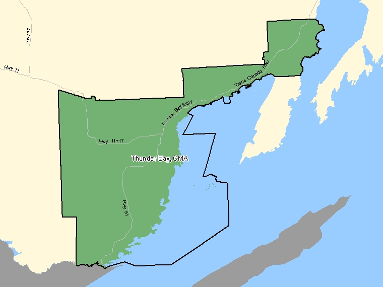 Map: Thunder Bay, Census metropolitan area (shaded in green), Ontario