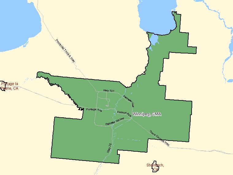 Map: Winnipeg, Census metropolitan area (shaded in green), Manitoba