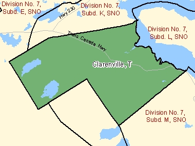Map of Clarenville, T (shaded in green), Newfoundland and Labrador