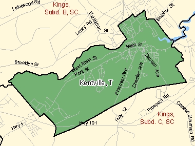 Map of Kentville, T (shaded in green), Nova Scotia