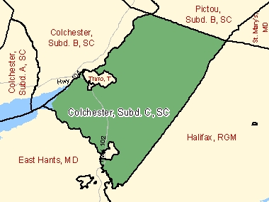 Map of Colchester, Subd. C, SC (shaded in green), Nova Scotia