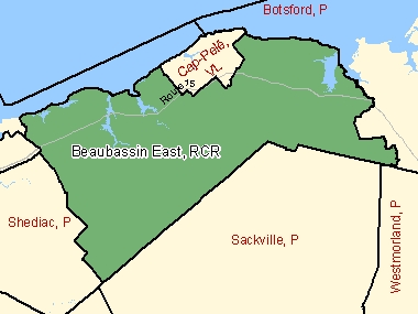 Map of Beaubassin East / Beaubassin-est, RCR (shaded in green), New Brunswick