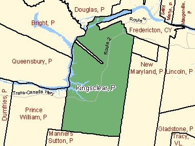 Map of Kingsclear, P (shaded in green), New Brunswick