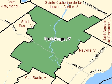 Map of Pont-Rouge, V (shaded in green), Quebec