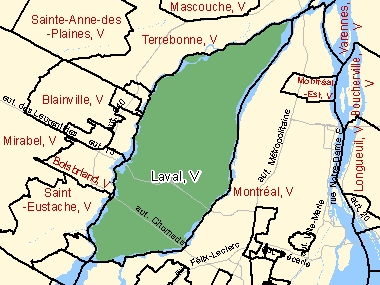 Map of Laval, V (shaded in green), Quebec