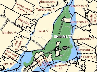 Map of Montréal, V (shaded in green), Quebec