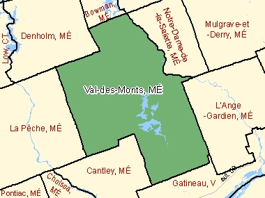 Map of Val-des-Monts, MÉ (shaded in green), Quebec