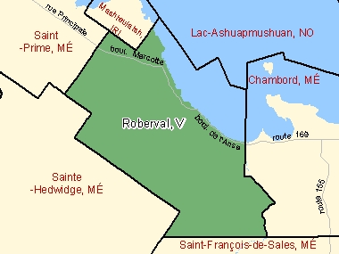 Map of Roberval, V (shaded in green), Quebec