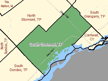 Map of South Stormont, TP (shaded in green), Ontario