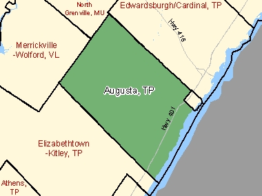 Map of Augusta, TP (shaded in green), Ontario