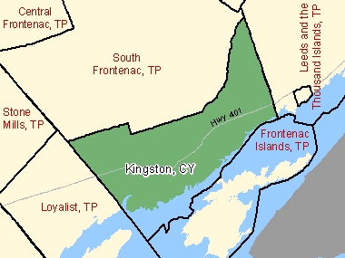 Map of Kingston, CY (shaded in green), Ontario