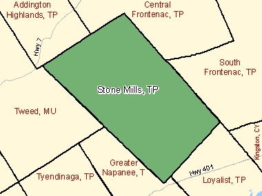Map of Stone Mills, TP (shaded in green), Ontario