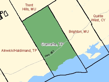 Map of Cramahe, TP (shaded in green), Ontario