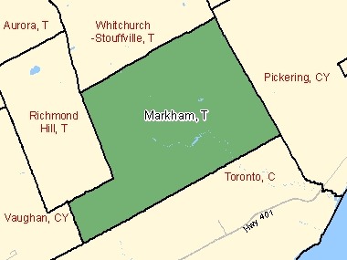 Map of Markham, T (shaded in green), Ontario