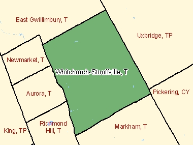 Map of Whitchurch-Stouffville, T (shaded in green), Ontario