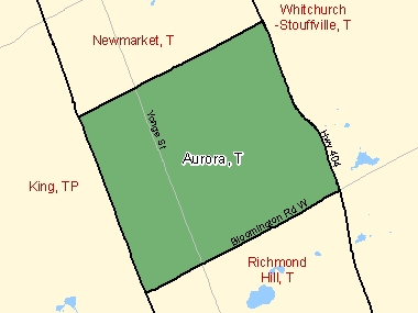 Map of Aurora, T (shaded in green), Ontario