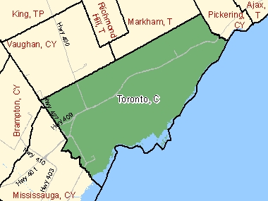 Map of Toronto, C (shaded in green), Ontario