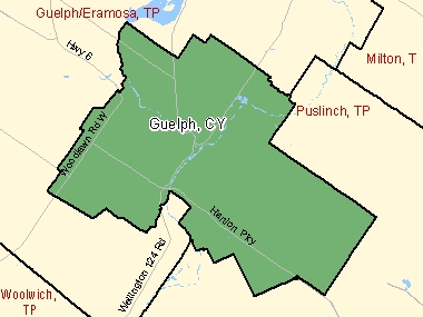 Map of Guelph, CY (shaded in green), Ontario