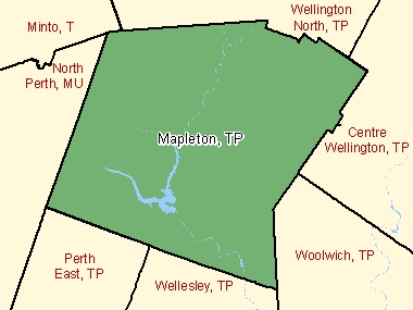 Map of Mapleton, TP (shaded in green), Ontario