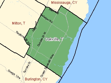 Map of Oakville, T (shaded in green), Ontario