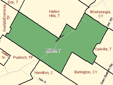 Map of Milton, T (shaded in green), Ontario