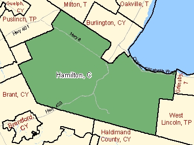 Map of Hamilton, C (shaded in green), Ontario