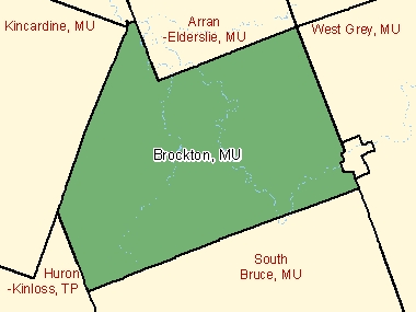 Map of Brockton, MU (shaded in green), Ontario
