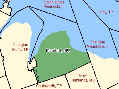 Map of Meaford, MU (shaded in green), Ontario