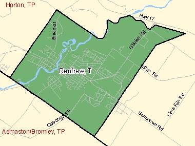 Map of Renfrew, T (shaded in green), Ontario