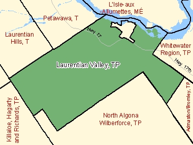 Map of Laurentian Valley, TP (shaded in green), Ontario