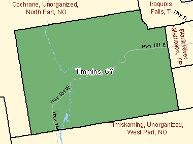 Map of Timmins, CY (shaded in green), Ontario