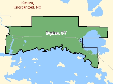 Map of Dryden, CY (shaded in green), Ontario