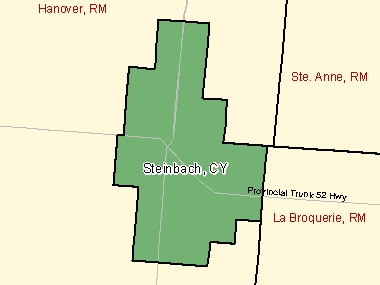 Map of Steinbach, CY (shaded in green), Manitoba
