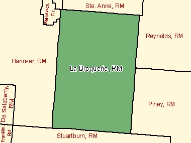 Map of La Broquerie, RM (shaded in green), Manitoba