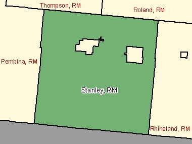Map of Stanley, RM (shaded in green), Manitoba
